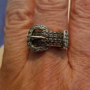 Chocolate and Clear CZ Buckle Ring